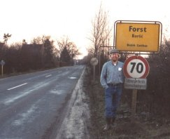 [ Allan standing by the Forst sign in 1989 ]