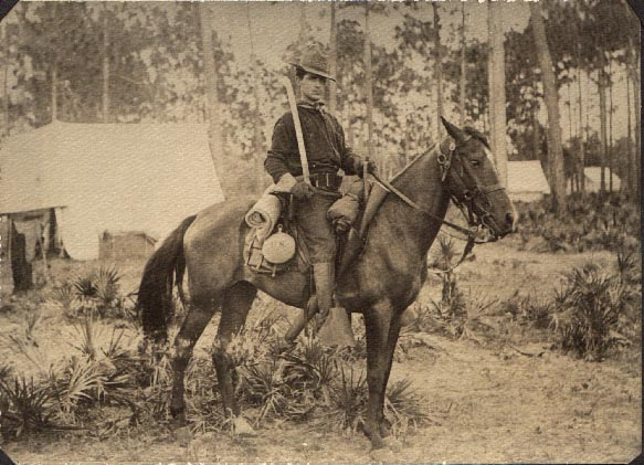 [ Rough Rider Frederick Wilson Hawes in 1898 -- click to enlarge the picture and hear the horse ]